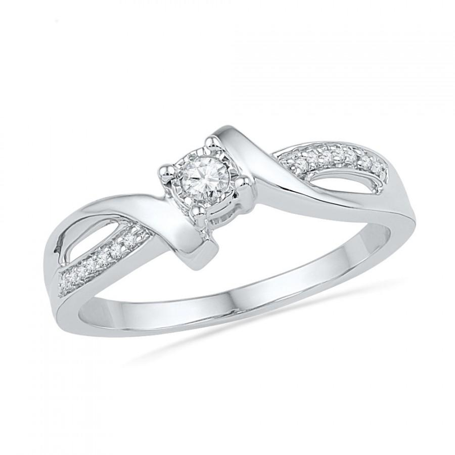 0aec548baf157 Promise Ring, 10k White Gold Ring, Diamond Engagement Ring Or Womens ...