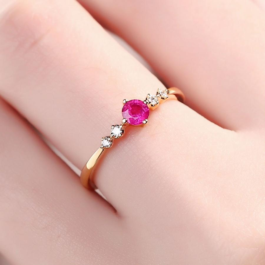 Natural Ruby Ring, Ruby Diamond Ring, 14K Rose Gold Ring,Unique Ruby ...