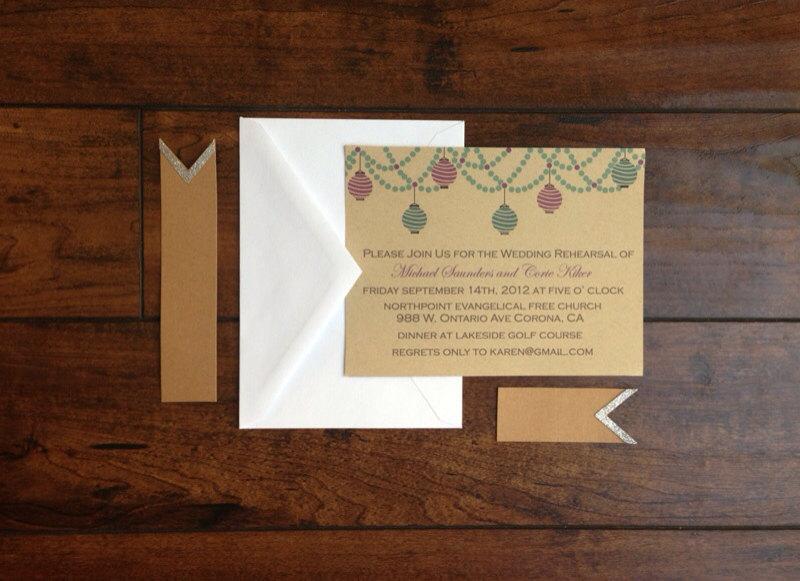 Свадьба - Wedding Rehearsal Dinner Invitation, Rehearsal Dinner Invite, Paper Lantern on Kraft Paper Rehearsal Wedding Dinner Party Invite