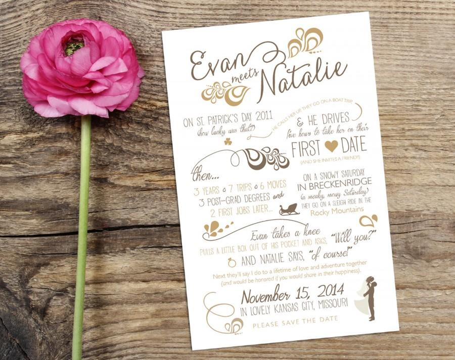 Свадьба - Wedding Love Story Timeline Save the Date Design with Custom Icons - Personalized Vintage Modern Infographic Wedding Announcement Card