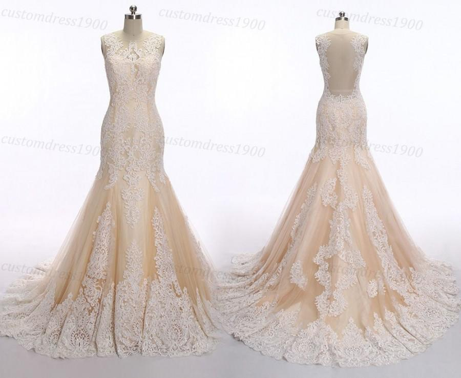Mermaid lace wedding dress vintage champagne wedding for Vintage backless wedding dresses