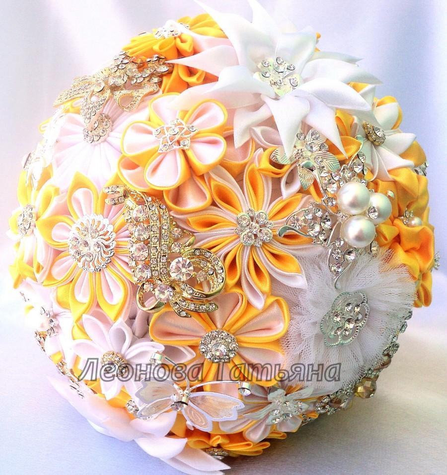 Wedding Fabric Bouquet Brooch Bouquet Empress Yellow Gold And