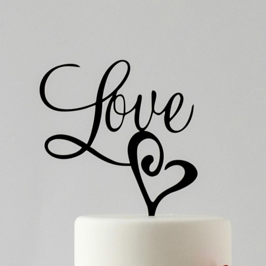 Wedding - Love, Wedding Cake Topper, The Perfect Love Wedding Decor, Gold Cake Topper, Romantic Anniversary Topper, Love Cake Topper for Wedding Cake