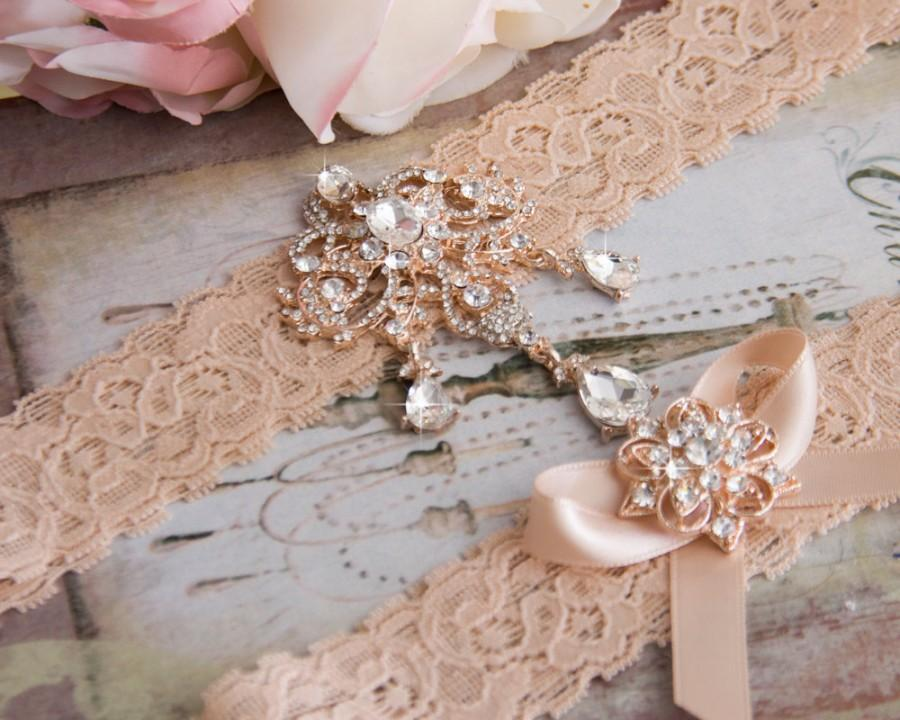 Mariage - Rose Gold Wedding Garter Set, Blush Bridal Garter Set, Blush Lace Garter, Lace Wedding Garter, Rose Gold Garter