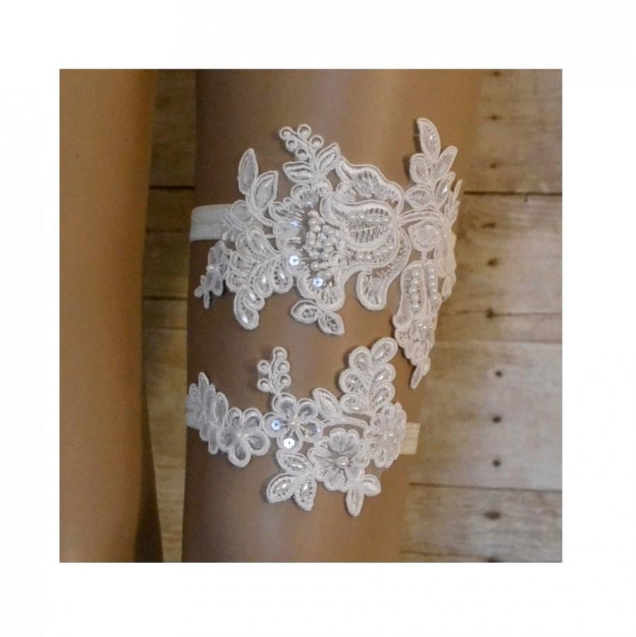 Hochzeit - Wedding Garter, Elegant Ivory Venice Lace Bridal Garter Set, Unique Vintage Style Garter Set, Beaded Garter Set, Bridal Garter Belt, L1