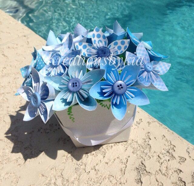زفاف - Blue Rhapsody - Origami Paper Flower Bouquet/kusudama, origami bouquet, wedding decorations, baby shower, birthday decor, centerpiece