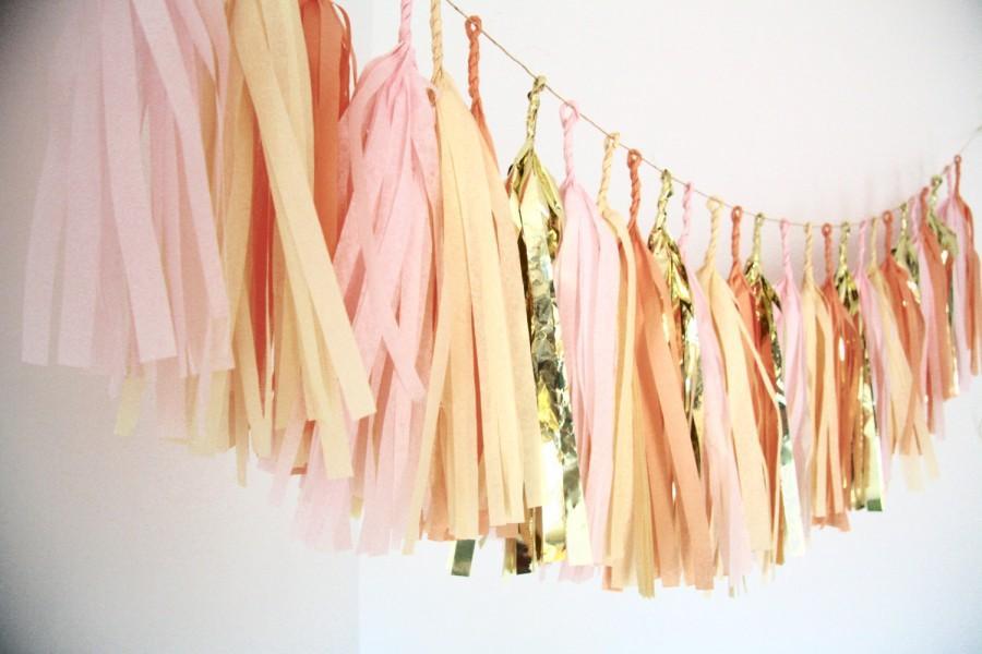 Wedding - Gold, Blush Pink, Peach, Champagne Tassel Garland - Nursery Decor . Birthday Party . Baby Shower Decorations