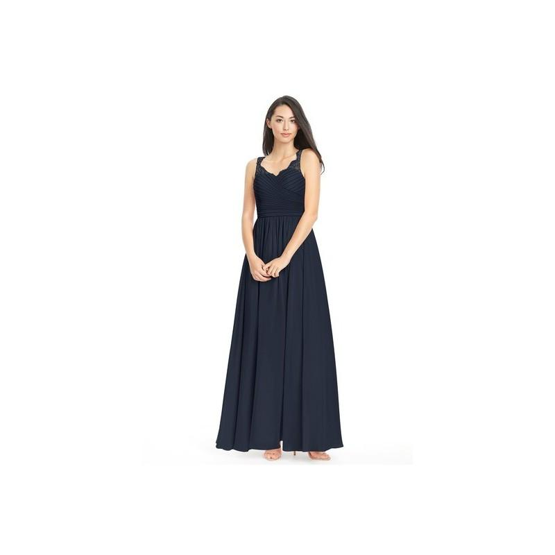 Mariage - Dark_navy Azazie Danny - Chiffon And Lace Keyhole Floor Length Sweetheart Dress - The Various Bridesmaids Store