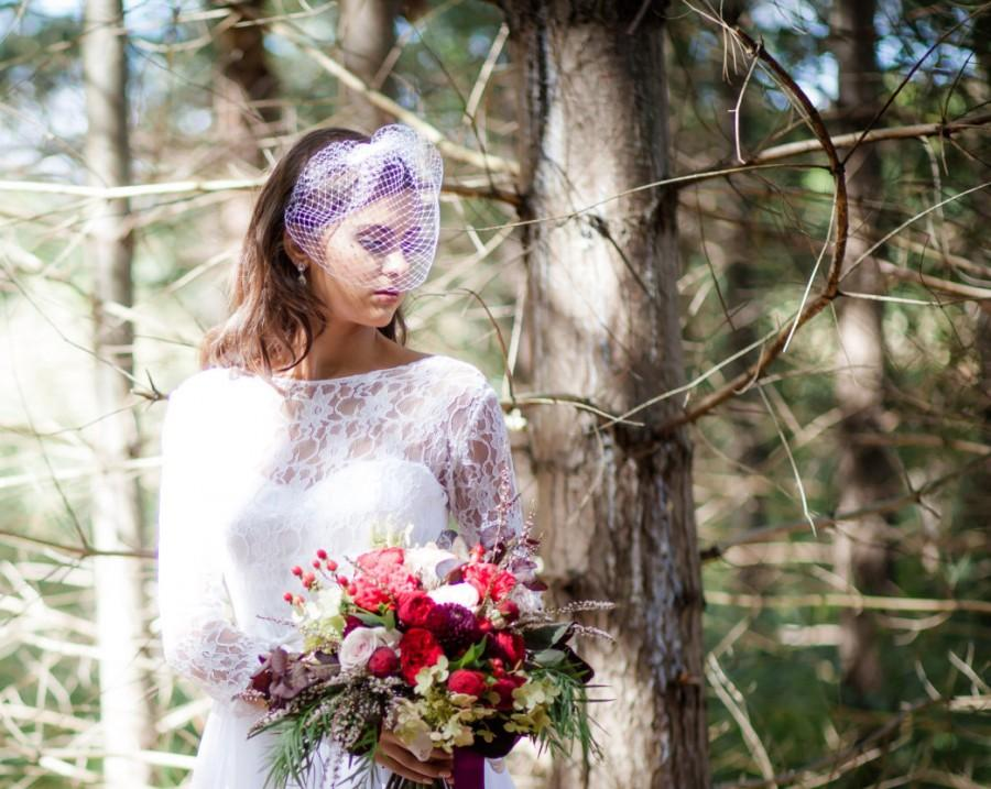 Wedding - Veil, Birdcage veil, bridal headpiece, wedding fascinator, white birdcage veil