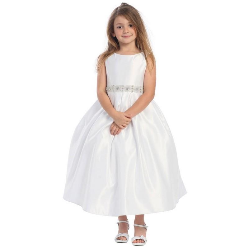 Свадьба - White Satin Pleated Skirt w/ Rhinestone Beaded Waistline Dress Style: D587 - Charming Wedding Party Dresses