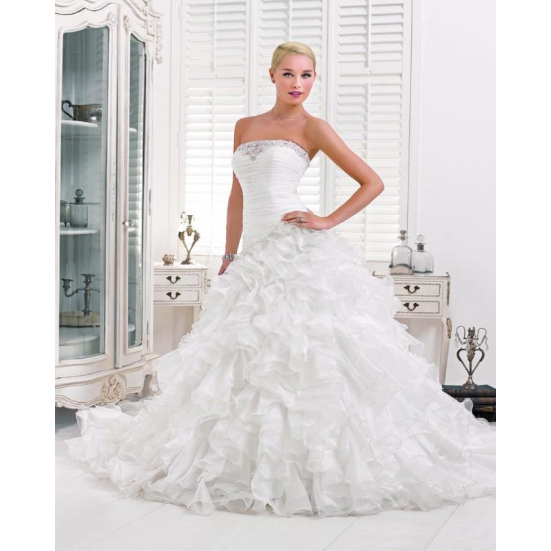 Свадьба - Charming A-line Strapless Beading Cascading Ruffles Sweep/Brush Train Organza Wedding Dresses - Dressesular.com