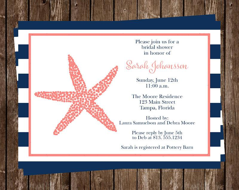 Nautical Bridal Shower Invitations Beach Stripes Wedding Set