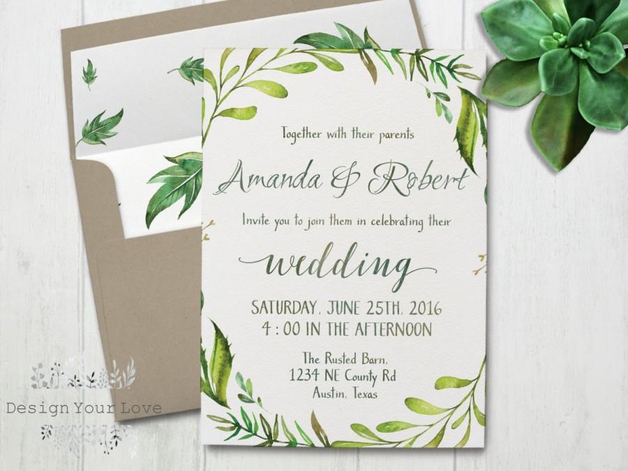Wedding - printable greenery wedding invitation printable green wedding invitation watercolor greenery wreath green leafy invitation garden wedding