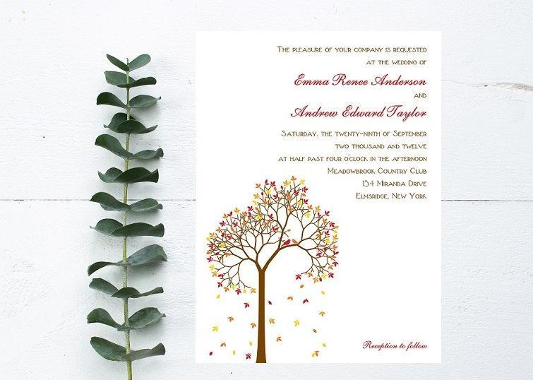 Wedding - Fall Wedding Invitation - Autumn Wedding Invitation - Fall Tree Invitation - Burnt Orange Wedding - September, October, November Invitation