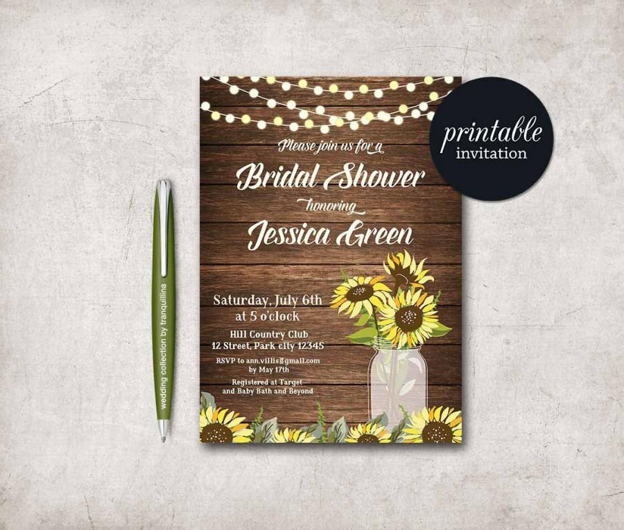 Rustic bridal shower invitation printable sunflower bridal shower rustic bridal shower invitation printable sunflower bridal shower invitation country bridal shower invite mason jar bridal shower invite filmwisefo