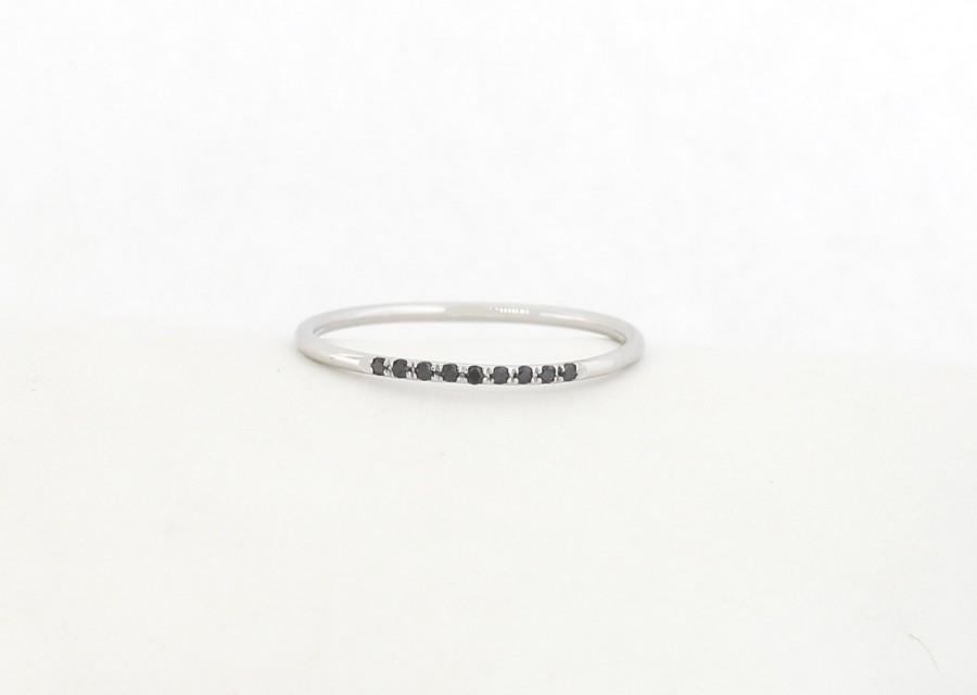 14K Solid White Gold Micro Pave Black Diamond Wedding Band Ring Half Eternity
