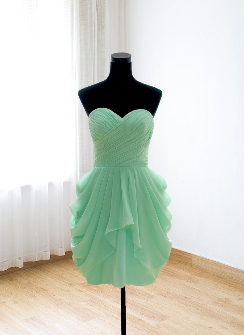 زفاف - Simple bridesmaid dress, short prom dress, mint formal evening dress