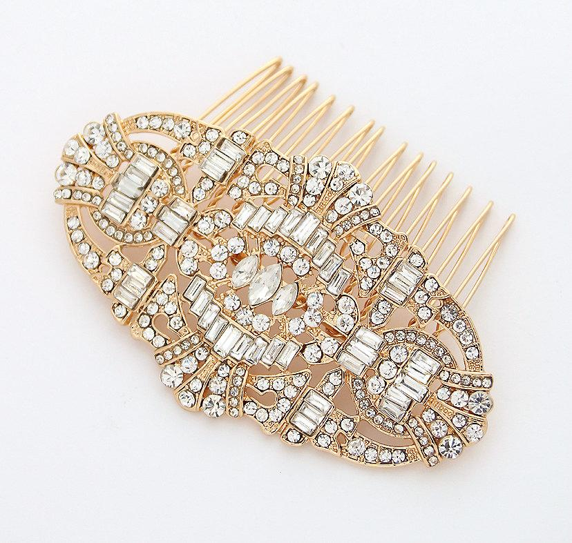 Mariage - Gold Hair Comb Crystal Gold Bridal Hair Piece Art Deco Old Hollywood Gatsby Wedding Hair Accessory Gold Rhinestone Comb Headpiece Jewelry