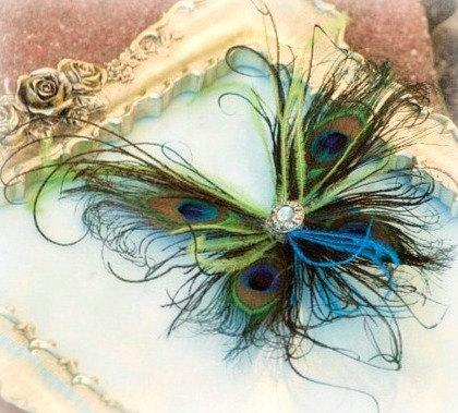 Wedding - Peacock Feather Butterfly Fascinator Clip Comb Pin. Wedding Engagement. Spring Papillon Farfalla Mariposa. Paon Pfau Pavo. Bride Flower Girl
