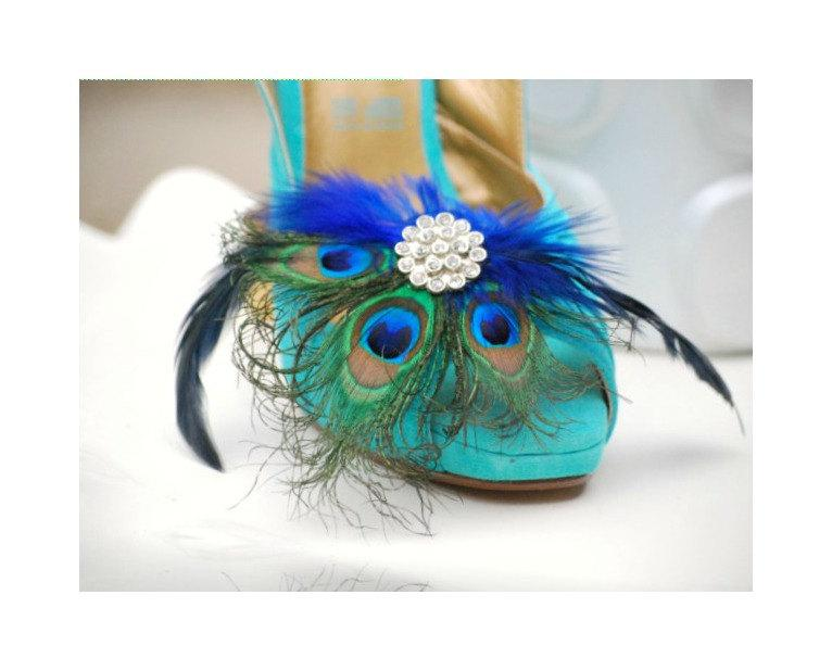 Mariage - Peacock Shoe Clips Royal Blue. Bride Bridal Bridesmaid, Birthday Glamour, Feminine Large Rhinestone, Statement Couture Fan, Teal Metallic