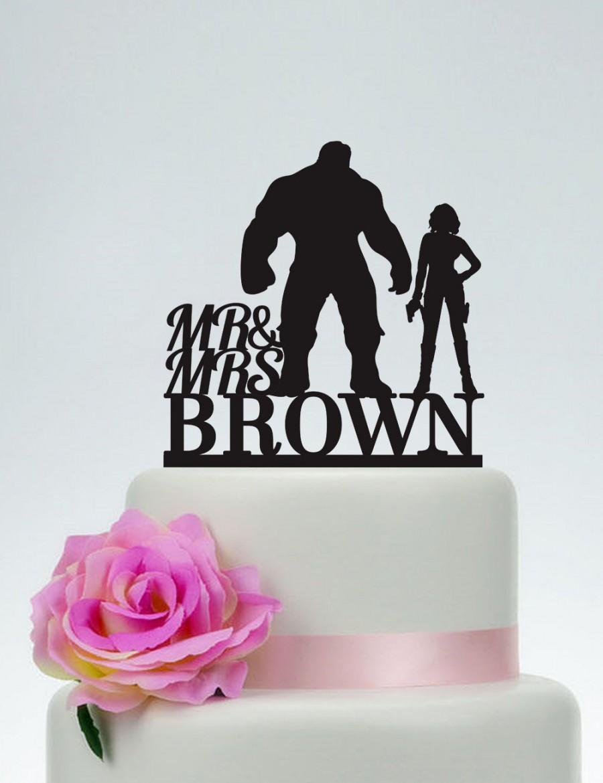 Mariage - Hulk and Black Widow Cake Topper, Wedding Cake Topper,Mr and Mrs Cake Topper With last name,Superhero Cake Topper,Avengers,Hero Wedding C138
