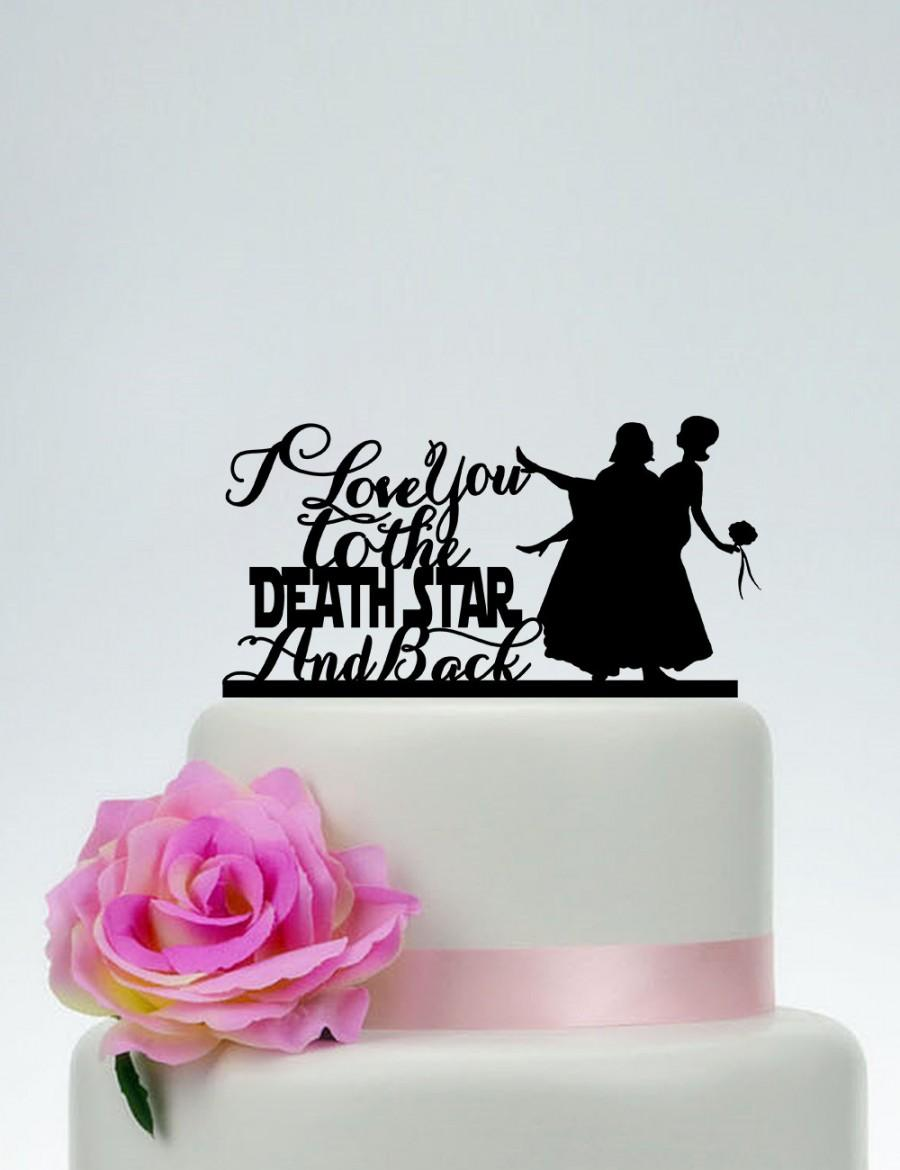 I love you to the death star and back star wars wedding cake topper i love you to the death star and back star wars wedding cake toppercustom cake topperpersonalized cake topperengagement cake topper p168 junglespirit Images