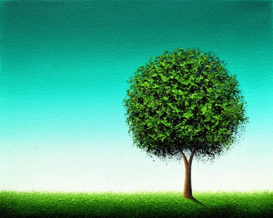 Minimalist green tree print emerald green tree art for Minimalist gifts for housewarming