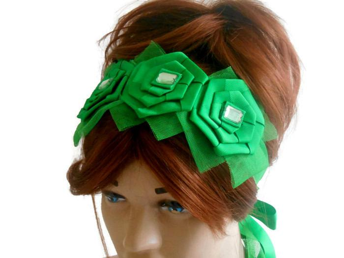 Wedding - Green Hair Band, Women's Accessories, Head Band, Adult Head Band, Hair Accessory, Flower Head Band, Bridesmaid Hair Band, Green Head Band