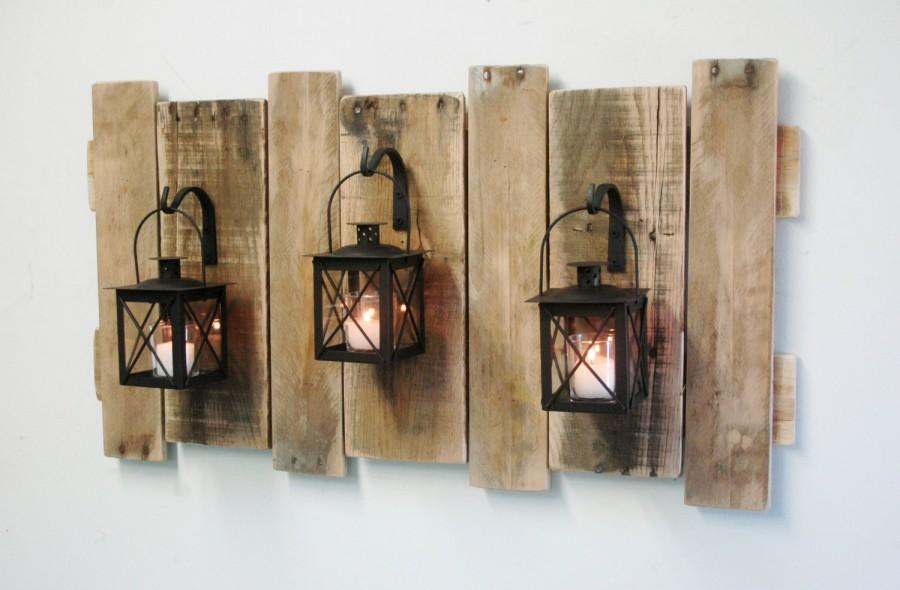 Hochzeit - Farmhouse Style Pallet Wall Decor with Lanterns- French country,Rustic decor,shabby chic decor,home decor,fixer upper style,large wall decor