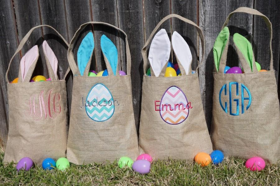 Mariage - Easter basket, Personalized Easter Basket, monogram easter basket, girls basket, boys basket, girls easter basket, monogram, burlap, bunny
