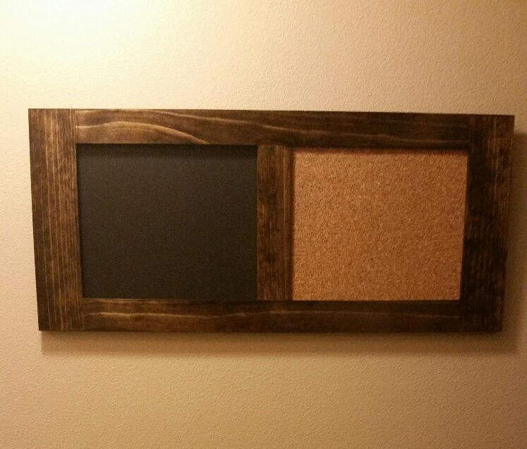 "Wedding - Dual board cork, chalkboard, magnetic board, hand made solid pine with quality mounting system, 36 1/2"" X 16 1/2, home decor, office, dorm"