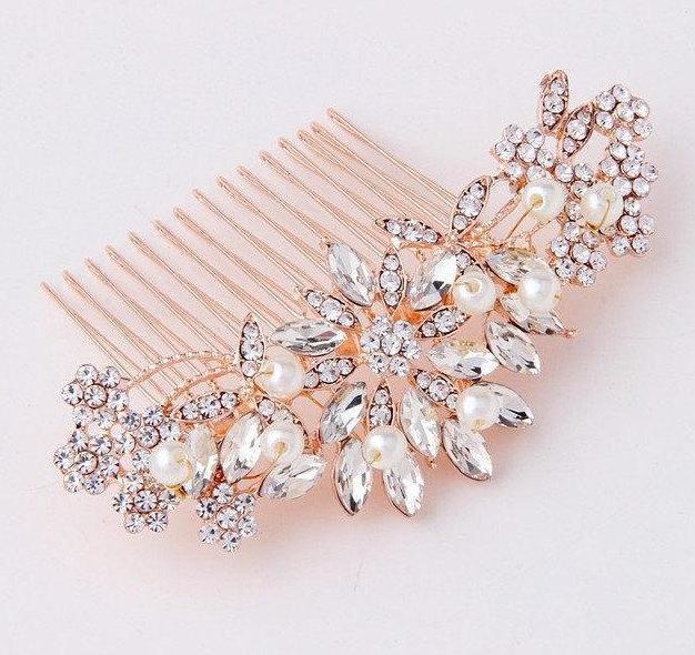 زفاف - Bridal Hair Comb Rose Gold Crystal Wedding Hair Comb Bridal Hairpiece Wedding Hair Jewelry Accessories for Bride Bridesmaids