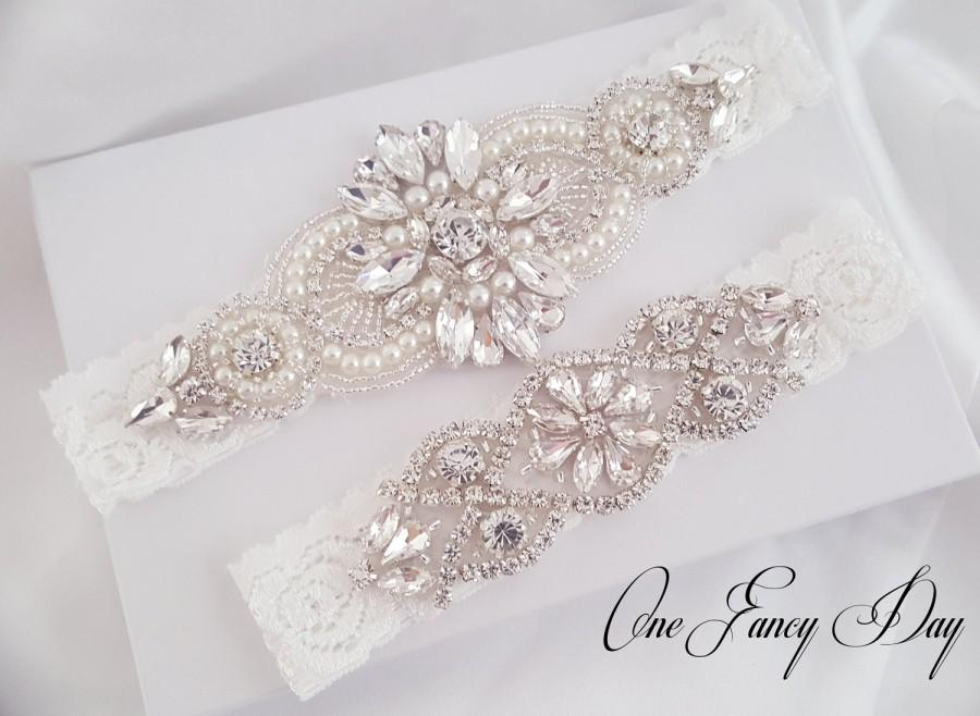 Wedding - Wedding Garter Set, Bridal Garter set, Lace Garter set, Crystal Bridal Garter, Silver Wedding Garter, Wedding Garter