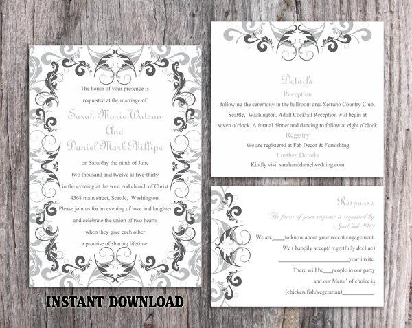 Свадьба - Wedding Invitation Template Download Printable Wedding Invitation Editable Invitation Silver Gray Invitation Elegant Black Invitations DIY - $15.90 USD