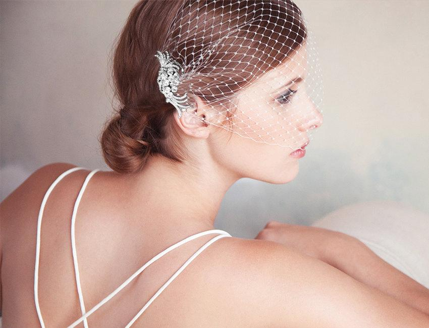 Mariage - Birdcage Veil, Silver Bridal Comb, Bandeau Birdcage Veil, Silver Blusher Bird Cage Veil, QUICK SHIPPER, Silver Rhinestone Comb with Veil