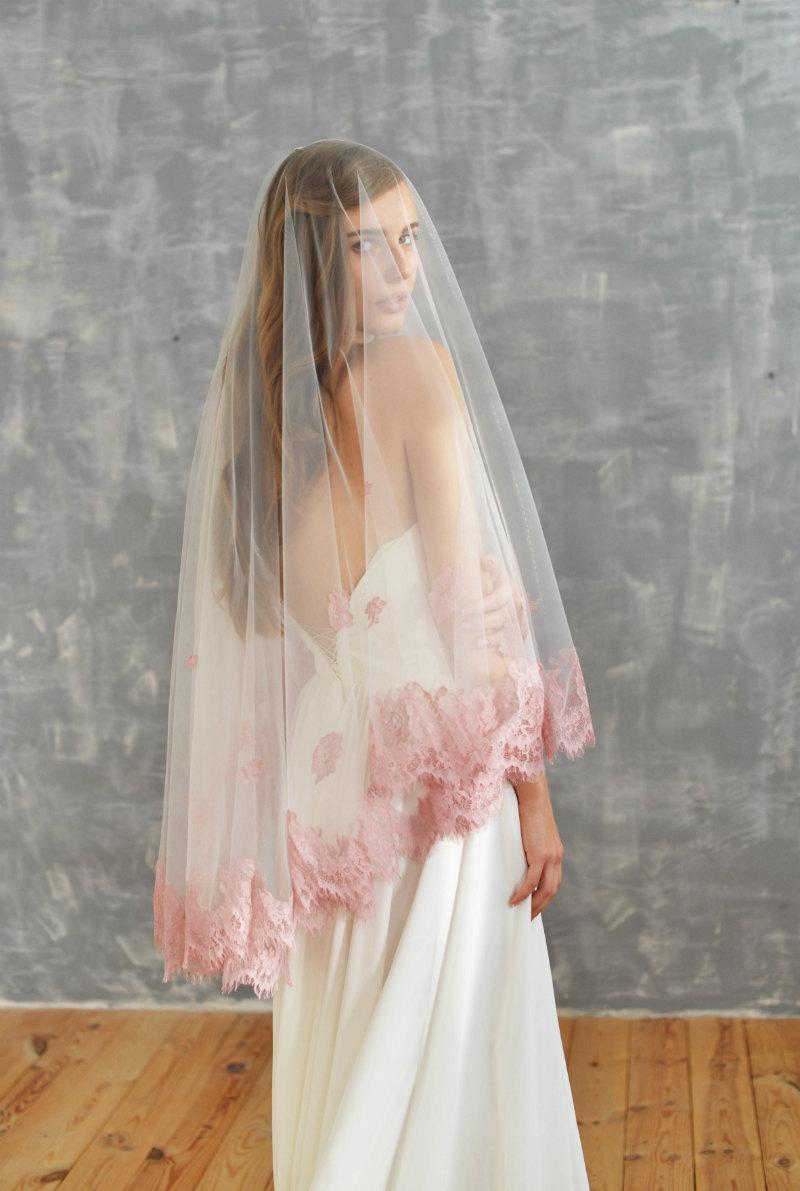 Mariage - blush veil, blush wedding veil, lace veil, fingertip veil, cathedral veil, blush wedding dress, blush lace, blush cathedral veil