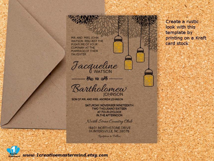 زفاف - DIY Wedding Invitation Template Printable, Editable PDF Template, Instant Download, Digital, Kraft Mason Jars and Fireflies #1CM77-2