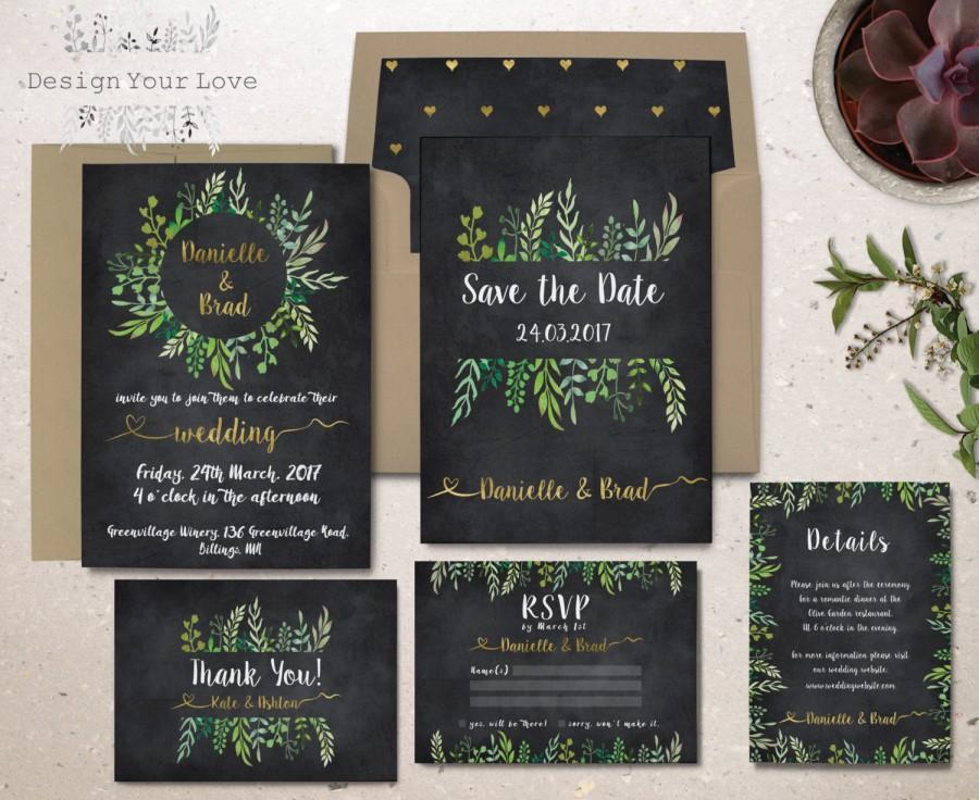 Hochzeit - printable green wedding invitation suite chalkboard wedding invitation set garden wedding leafy watercolor greenery wreath invitation suite