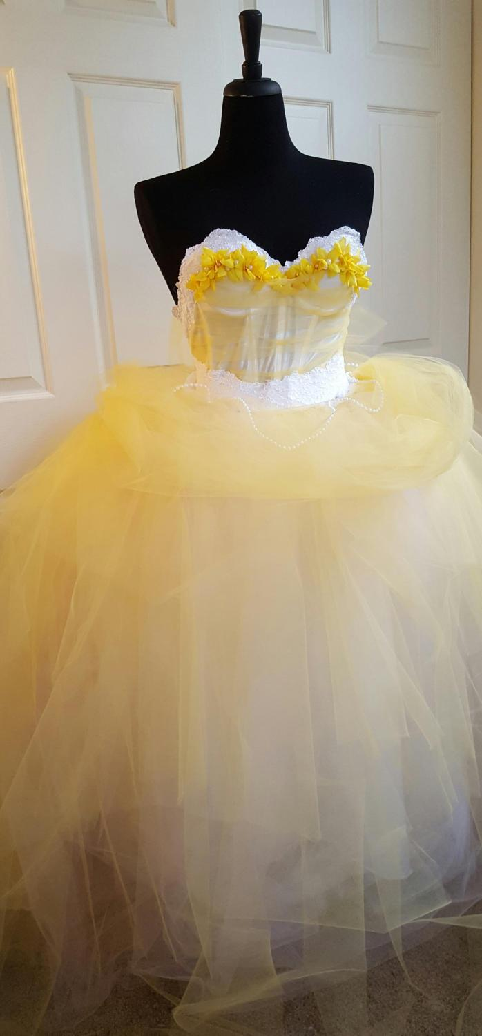 Wedding - Sample Gown / Belle Beauty & the Beast Inspired Yellow White Fairytale Princess Lace Tulle Wedding BallGown Party Costume Quinceanera Prom