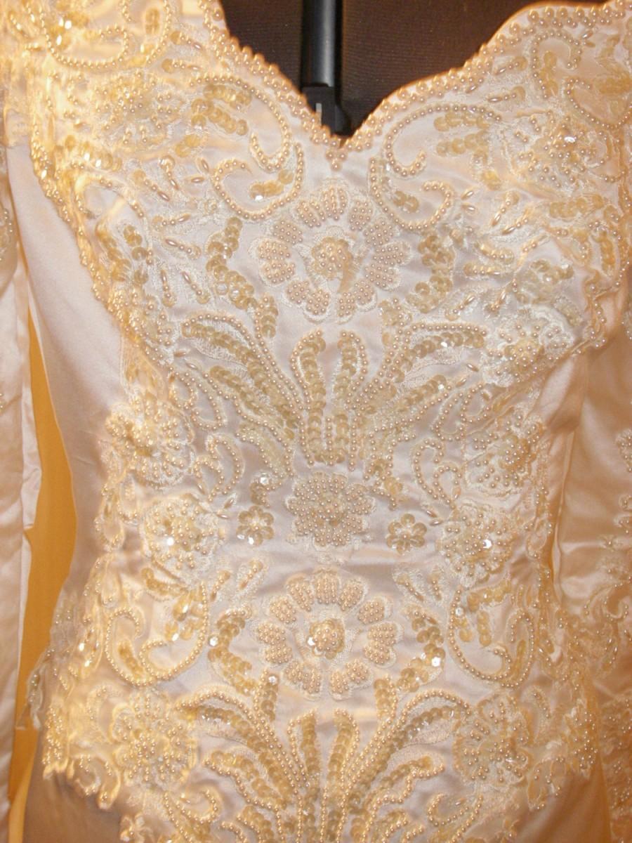 زفاف - Ivory Satin Sheath Bridal Gown, detachable train, off shoulder. Exquisite beaded long satin sleeve. Bow with a special designed rosette.