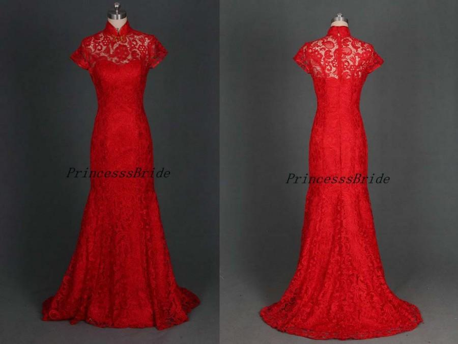 Свадьба - Stunning long rec lace prom dresses hot,Chinese collar wedding gowns in custom colors,affordable elegant women dress for evening party.