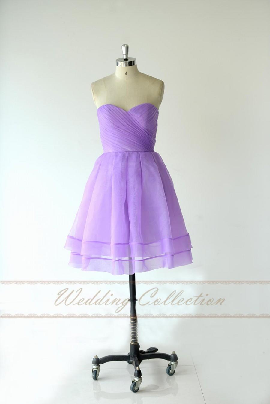 Wedding - Lilac Short Prom Dress,Short Bridesmaid Dress,Pleated Organza Simple Dress