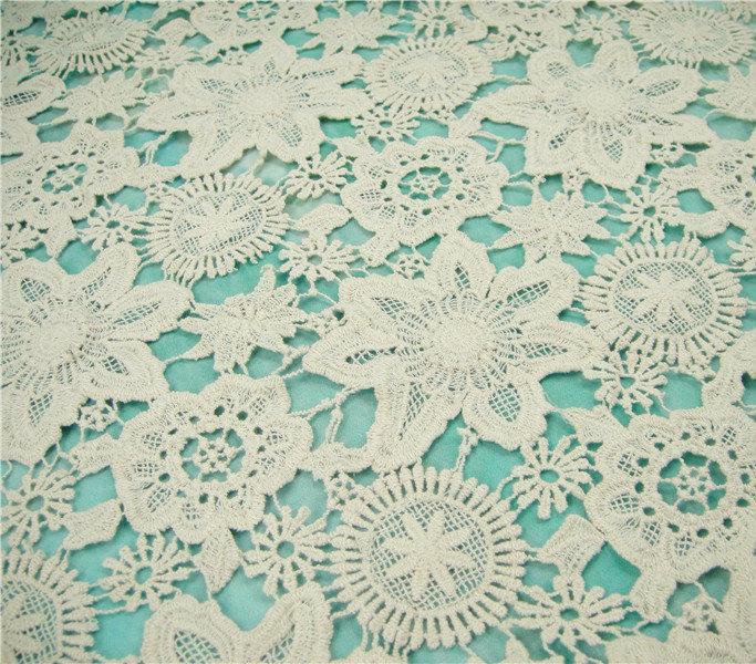 Wedding - Guipure Lace Fabric, Hollowed Wedding Lace Fabric, Embroidered Flowers, 34.6 inches for Bridal Dress, Bodices, Shorts,Craft Making, 1/2 Yard