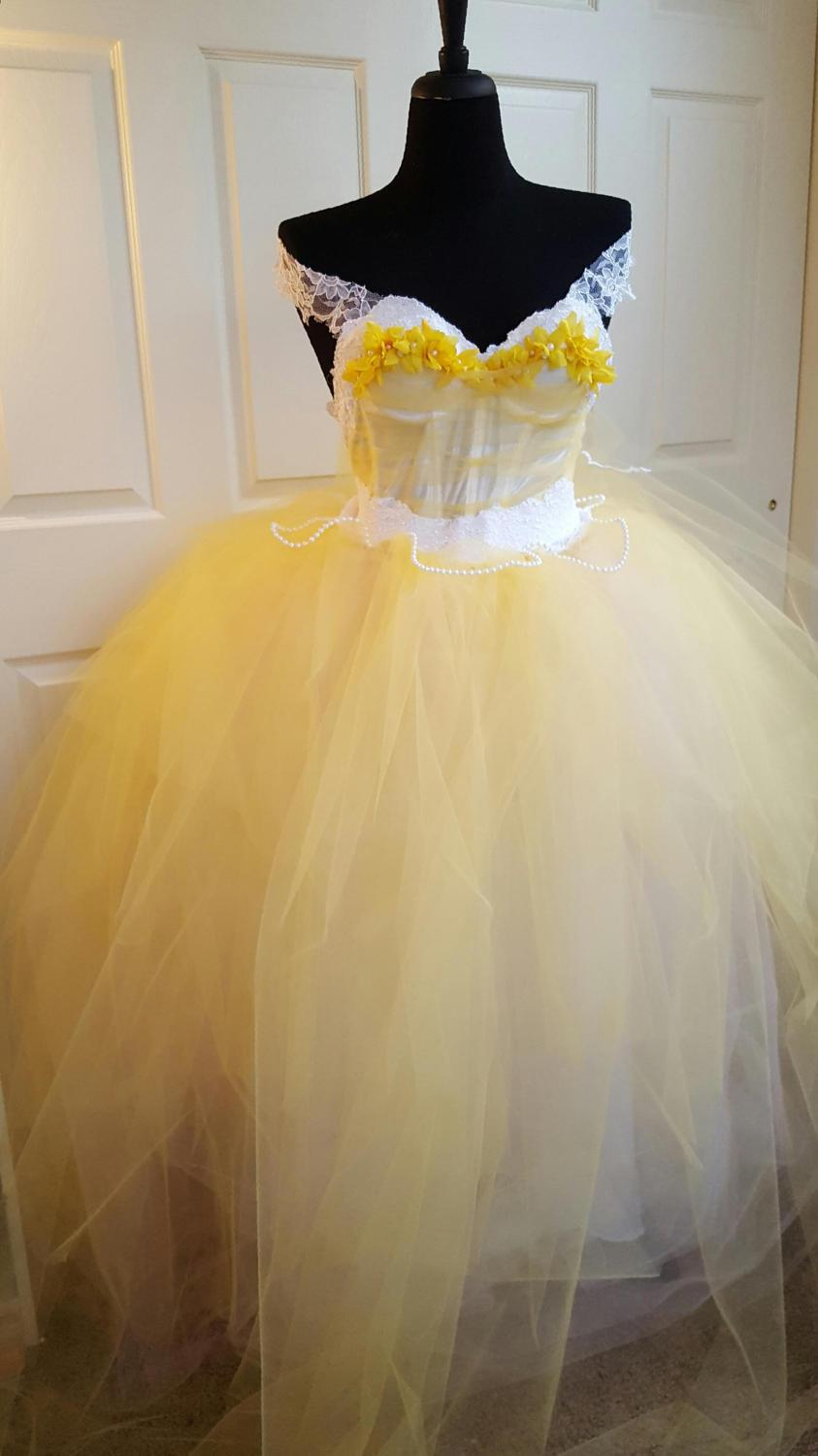 Sample Gown Belle Beauty The Beast Style Yellow White Corset W