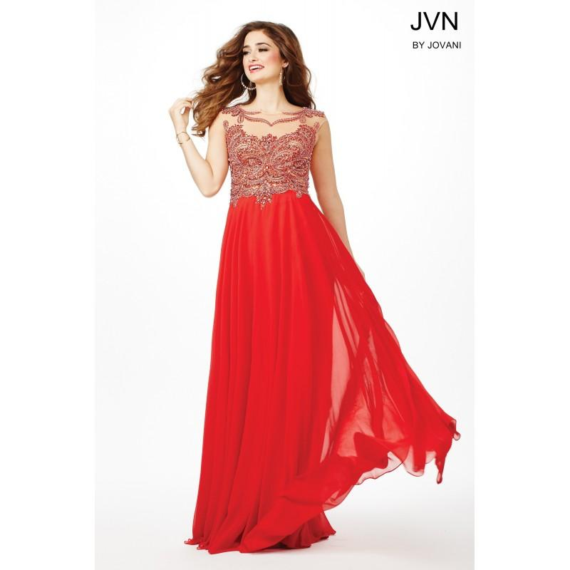 Boda - Jovani Long Red Chiffon Dress JVN36770 -  Designer Wedding Dresses