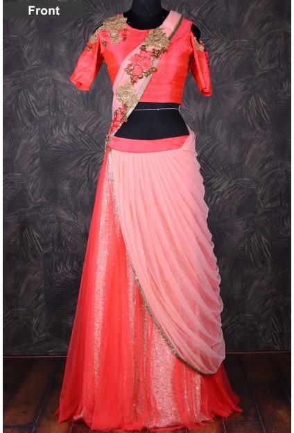 ba1bf0198e Coral Pink Lehenga Choli #2682110 - Weddbook