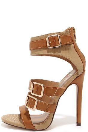 Boda - Show And Tall Tan Snakeskin Belted High Heel Sandals