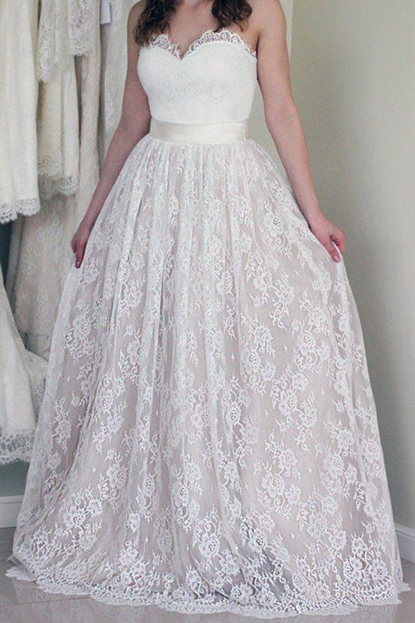 Düğün - Sweetheart Neckline Lace A Line Wedding Dresses, Strapless Cheap Wedding Gown, Affordable Bridal Dresses, 17090
