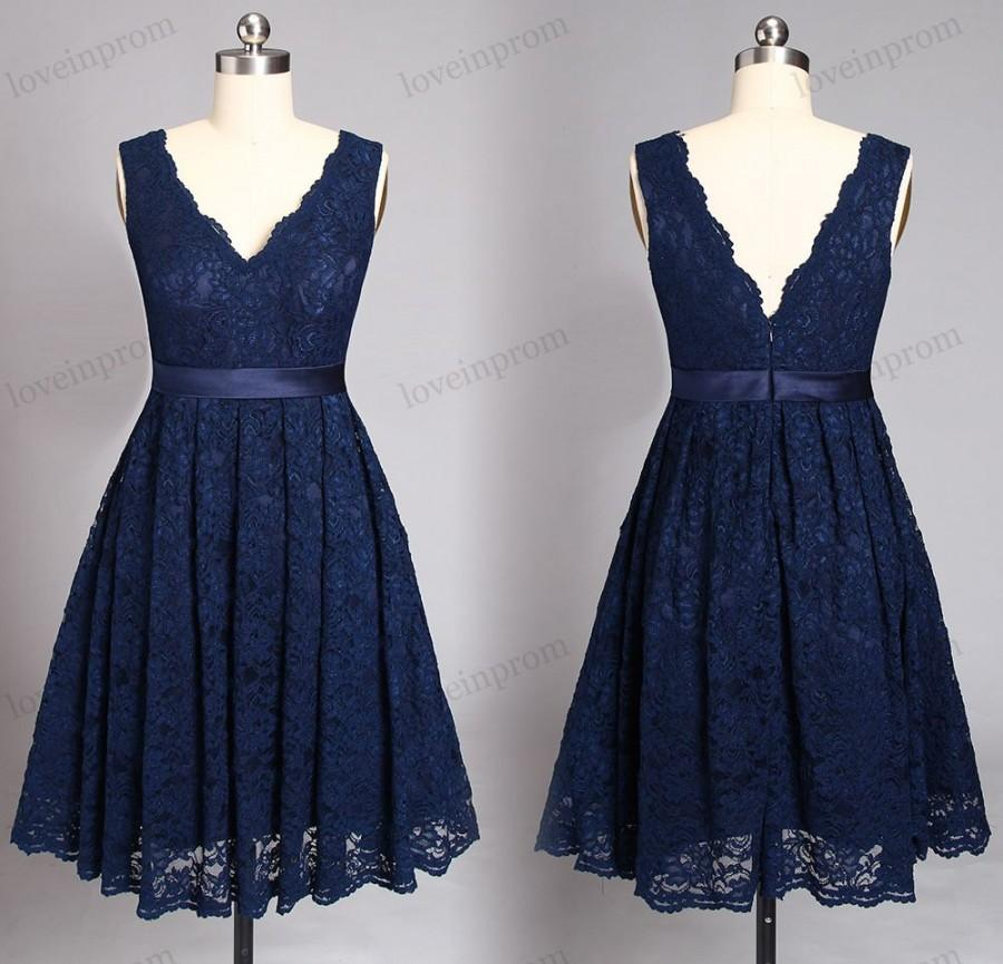 Navy blue lace bridesmaid dresses short wedding party for Navy blue dresses for weddings