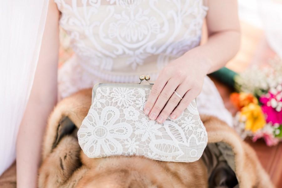 Mariage - Vintage Style Lace Linen Bridal Clutch, Rustic Wedding Clutch, Lace Bridesmaid Purse, Elegant Purse, Eight Inch Frame Clutch